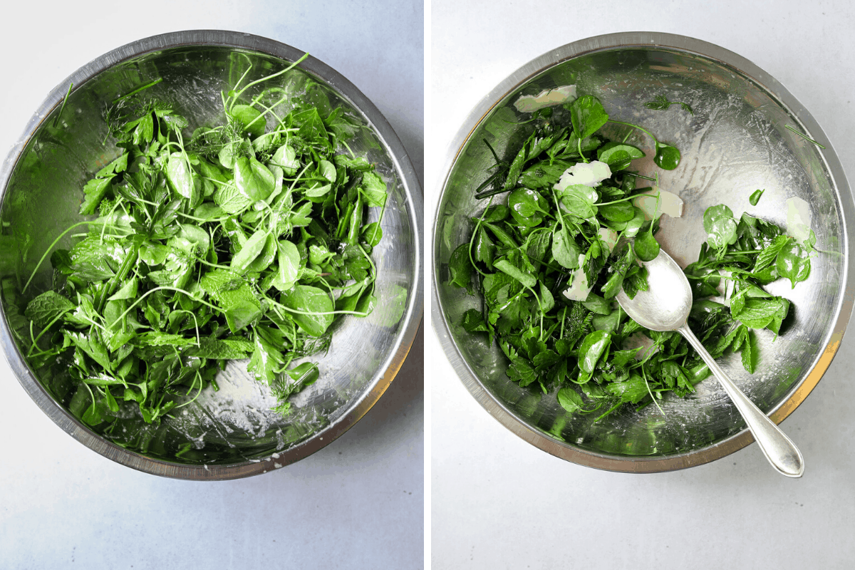 a silver mixing bowl filled with herb salad tossed with dressing and a silver mixing bowl filled with herb salad and shaved parmesan cheese