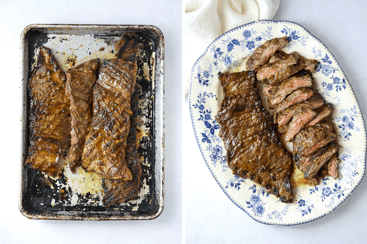 a baking tray with grilled skirt steak resting and a blue platter with grilled steak thinly sliced