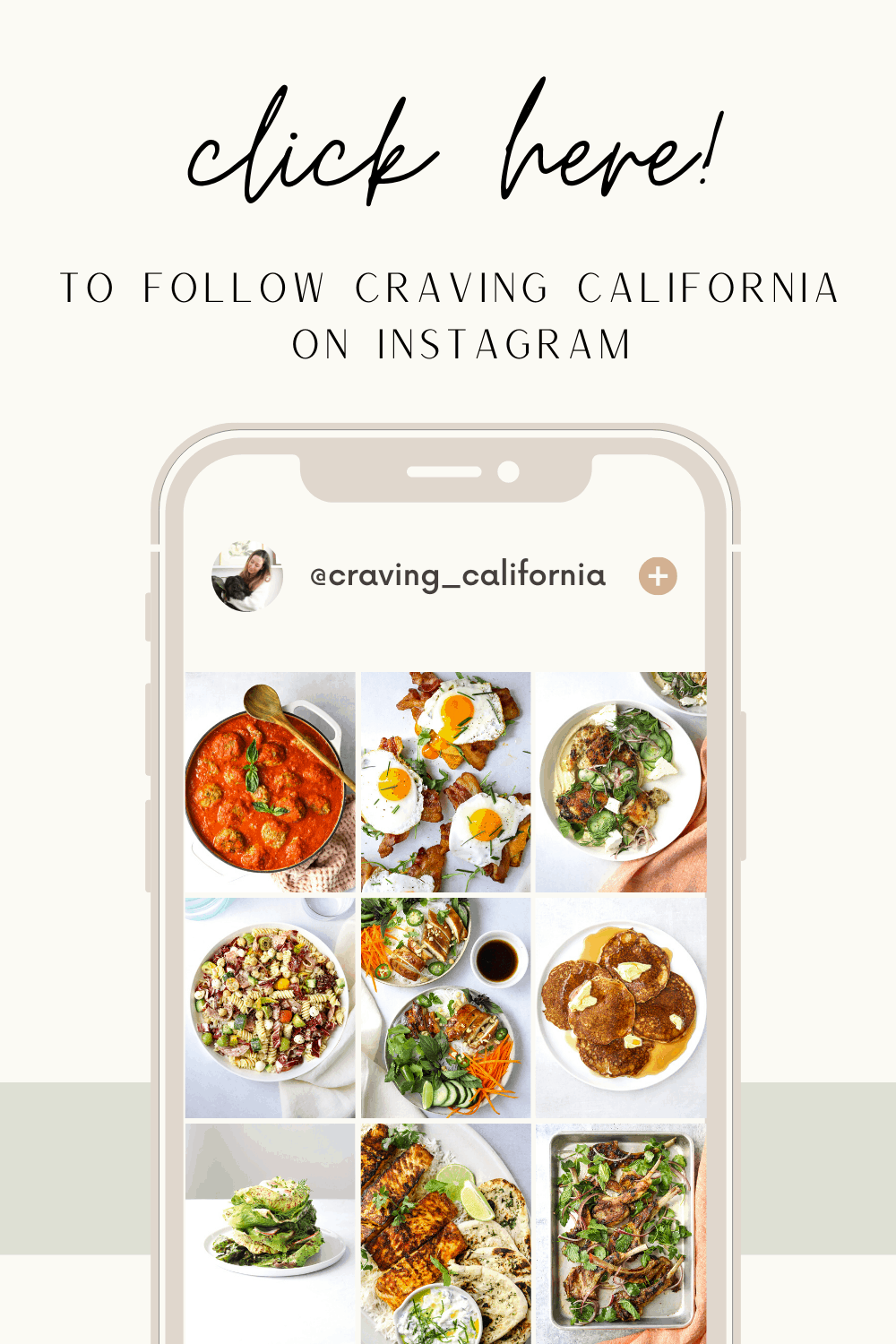 a beige and green graphic of a phone screen showing the craving california instagram feed