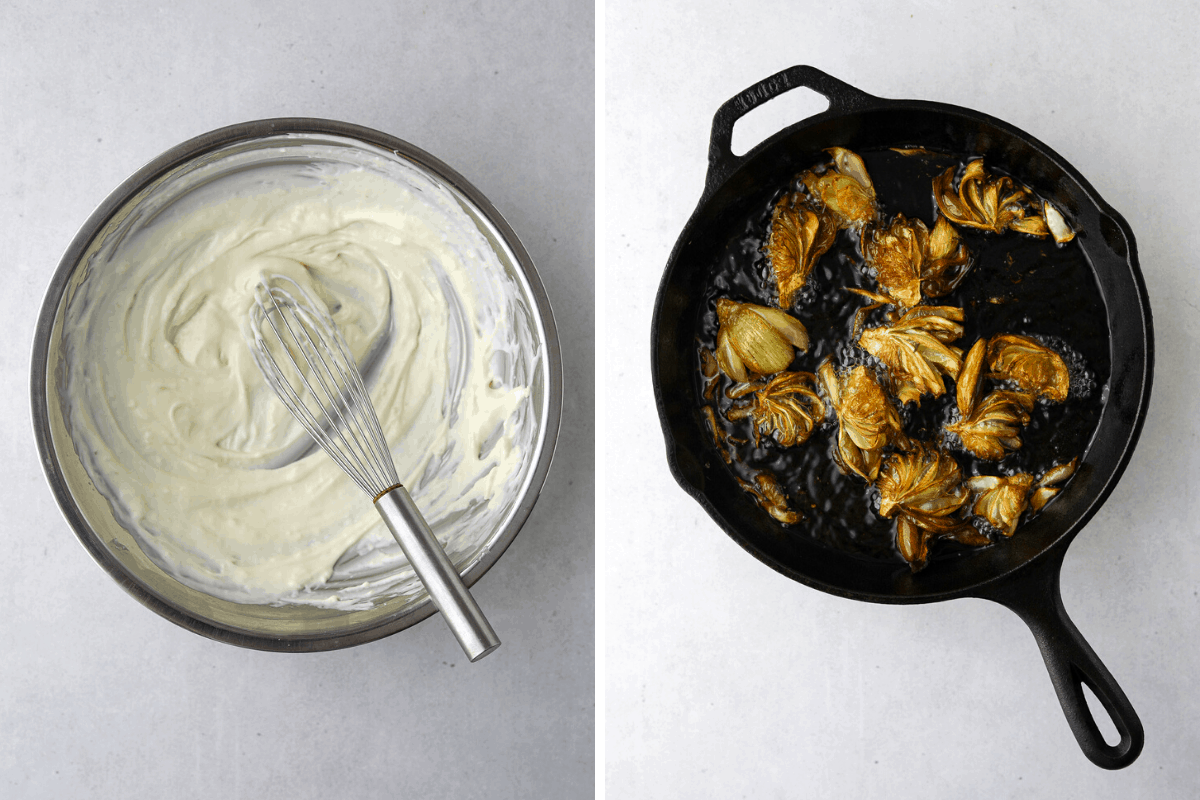a metal mixing bowl with garlic aioli and a whisk and a cast iron pan with artichokes frying.