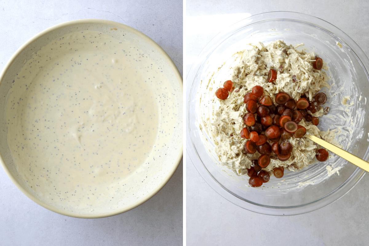 a bowls of creamy poppyseed dressing and a bowl of chicken salad being mixed with sliced grapes
