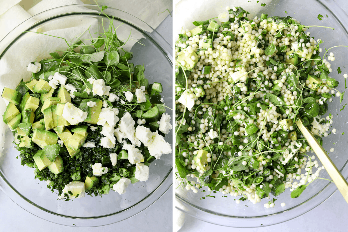 a large glass mixing bowl of couscous salad ingredients, avocado, feta cheese, and watercress.