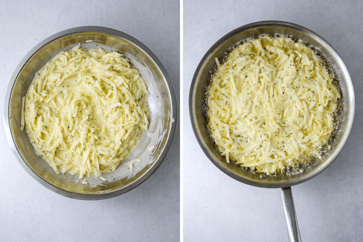 left: a mixing bowl filled with egg and hashbrown mixture. right, a saute pen with egg and hash brown mixture frying in oil