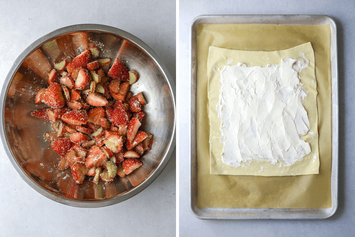 left: a metal mixing bowl filled with strawberries, rhubarb and sugar.  right: puff pastry on a baking tray spread with a layer cream cheese.