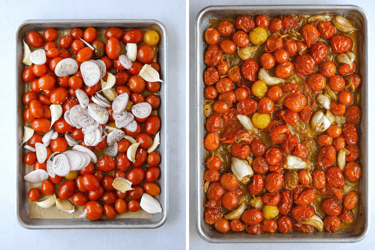 left: a sheet tray with raw tomatoes, shallot and garlic. right: a sheet tray of roasted tomatoes with shallot and garlic.