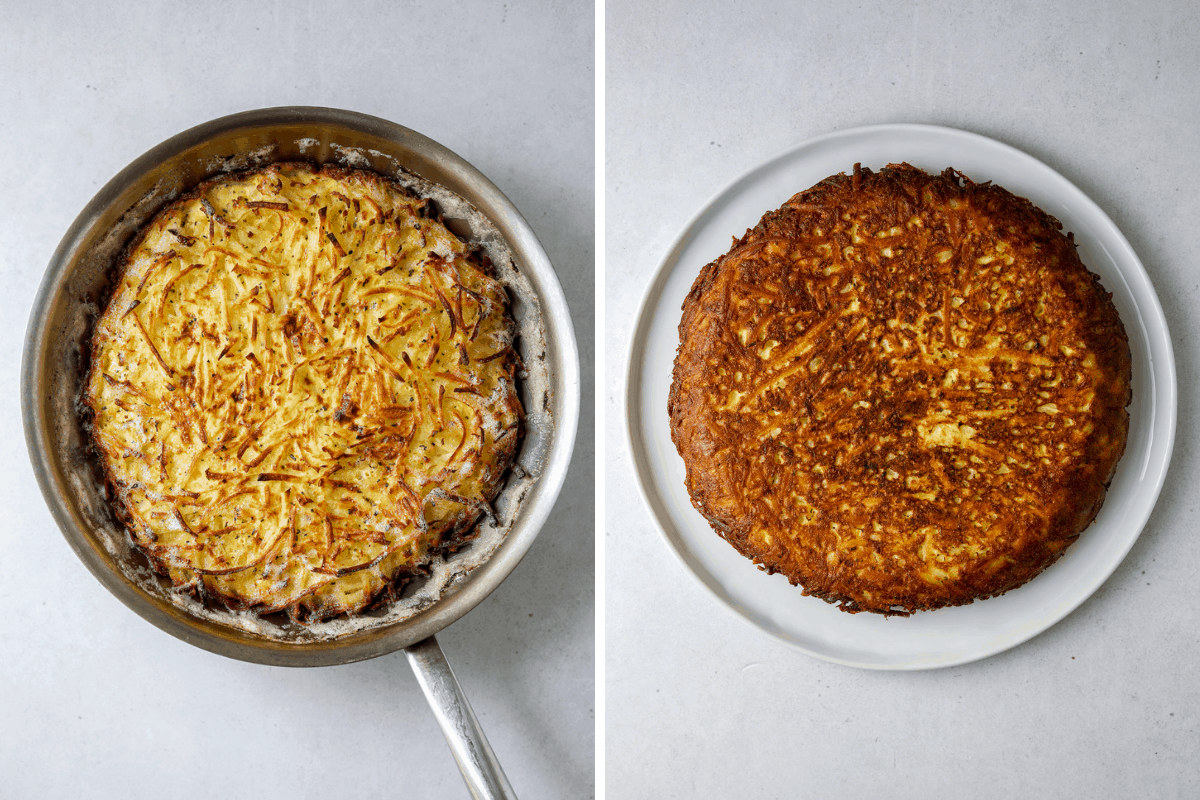 left: a golden brown hash brown frittata in a saute pan on a blue background.  right: hash brown frittata on a white plate