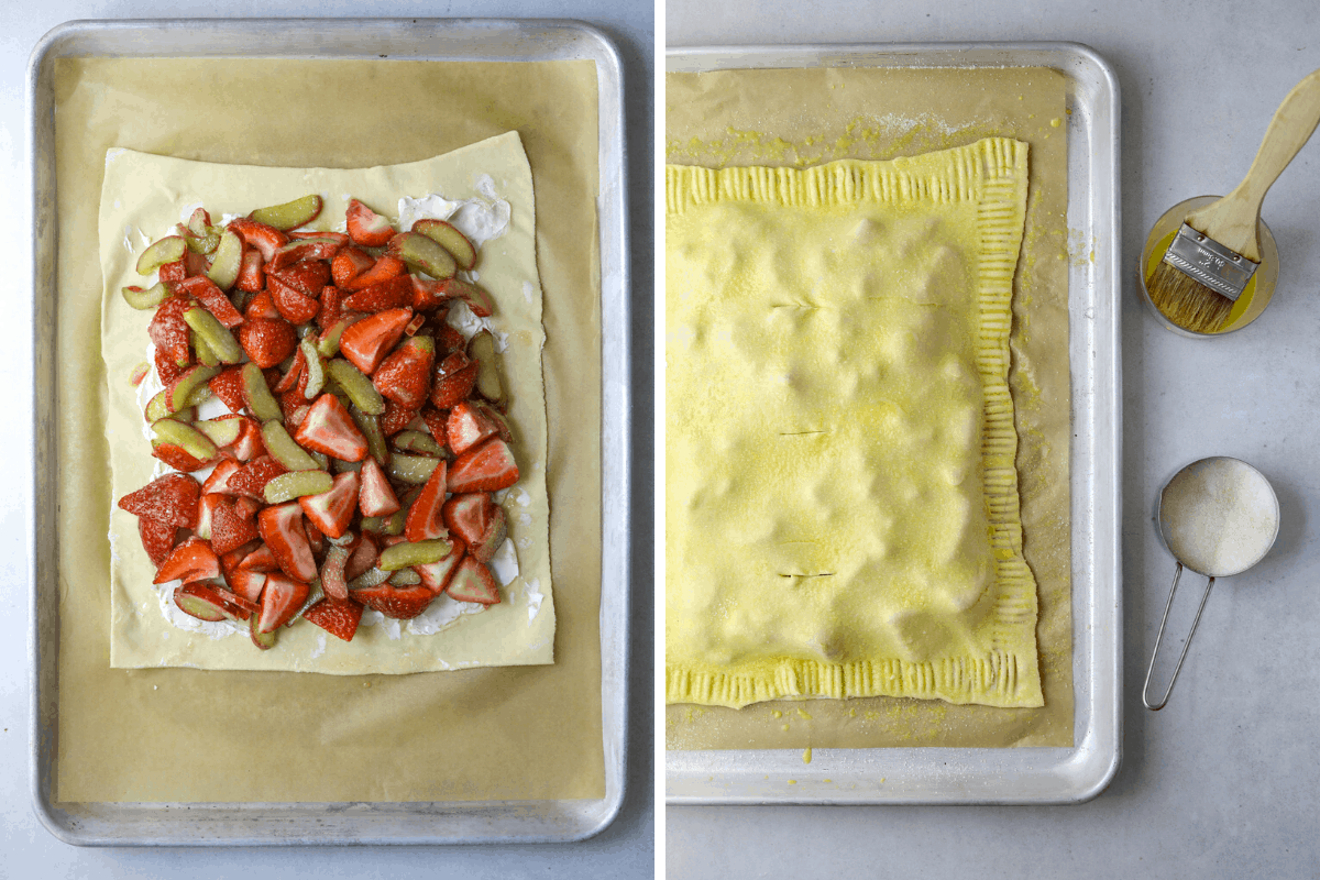 left: puff pastry with cream cheese and strawberry rhubarb mixture on a baking tray right: a raw Strawberry Rhubarb Puff Pastry Tart with a cup of egg wash and a bowl of sugar on the side