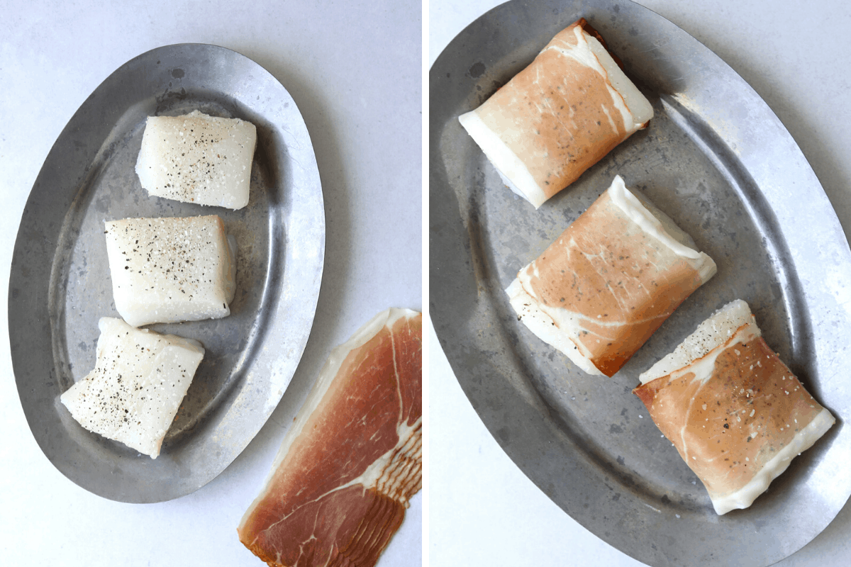 left: three filets of halibut seasoned with salt and pepper on an oval tray. right: an oval tray with three halibut filets wrapped in prosciutto