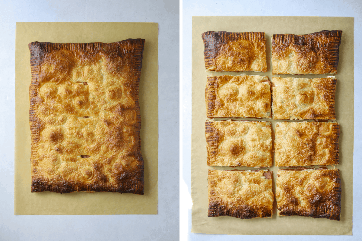 left: a baked Strawberry Rhubarb Puff Pastry Tart on brown parchment paper right: a baked Strawberry Rhubarb Puff Pastry Tart on brown parchment paper cut into eight pieces