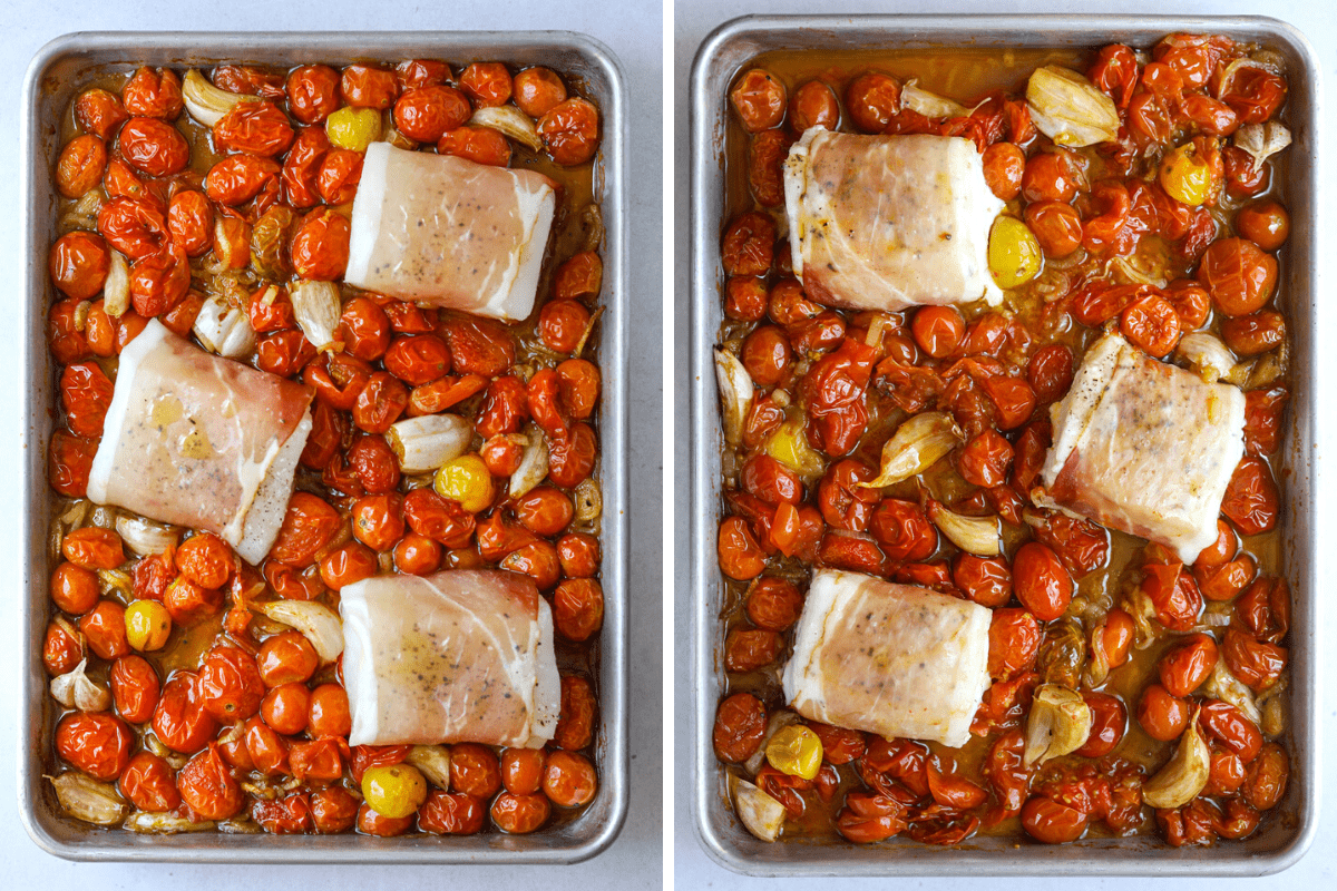 a sheet tray with roasted tomatoes and, garlic, shallot and prosciutto wrapped halibut