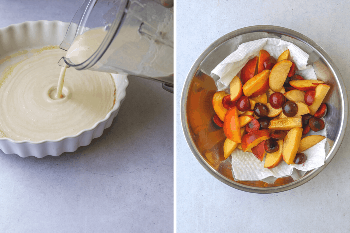left: clafoutis batter being poured into a buttered, round baking dish. right: a mixing bowl filled with cut up fruit: cherries and peaches