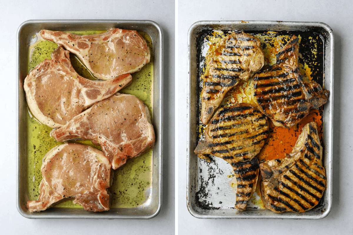 left: a baking tray with four raw marinated pork chops right: four grilled pork chops on a baking tray