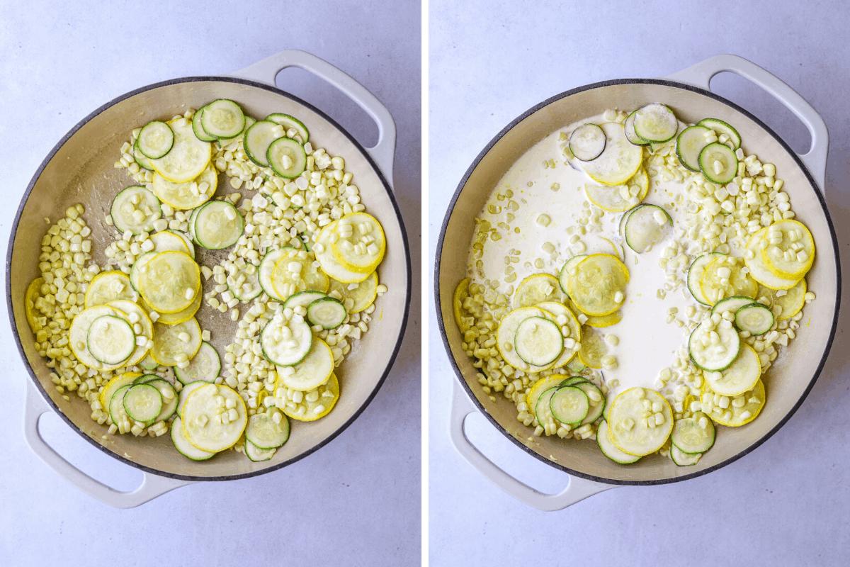 left: sautéed zucchini and corn in a pot right:sautéed zucchini, corn and cream in a pot