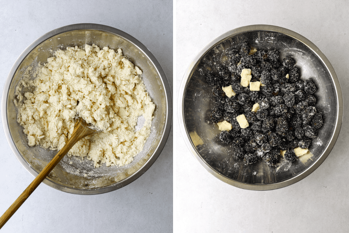 left: a bowl of pie dough mix with a wooden spoon right: a bowl of blackberries with sugar and cubed butter