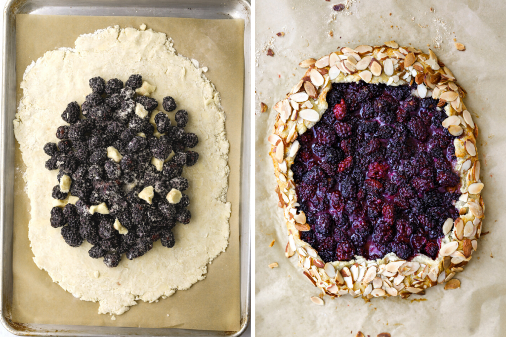 left: an uncooked blackberry crostata right: a baked black berry crostata on parchment paper