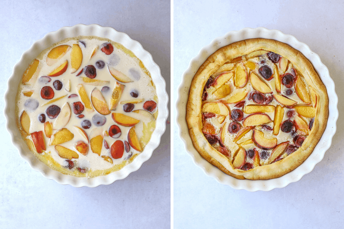 left: clafoutis batter and cut up fruit in a white fluted baking dish. right: a baked stone fruit clafoutis on a blue background