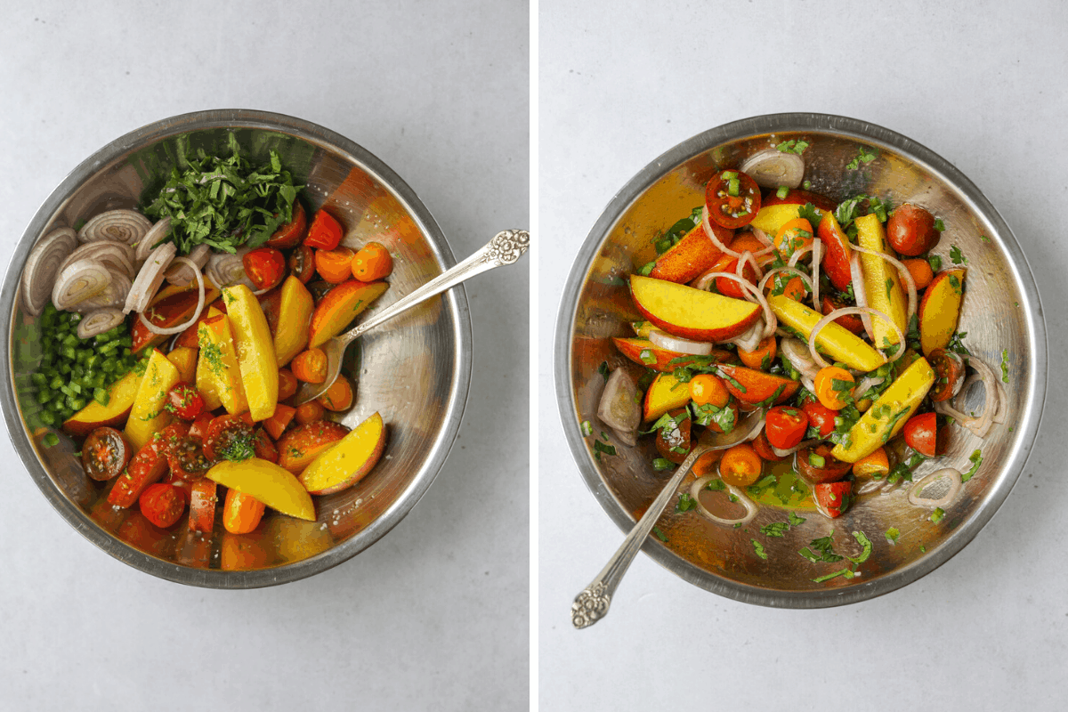 left: a stainless steel mixing bowl with shallot, peaches, tomatoes, jalapeño, lime zest and a silver spoon right: peach, tomato and shallot salad mixed together in a stainless steel bowl