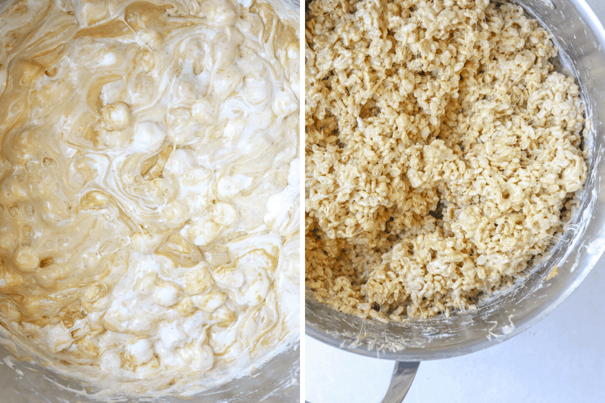 left: melted marshmallows in a large pot right: rice crispy treats in a large pot
