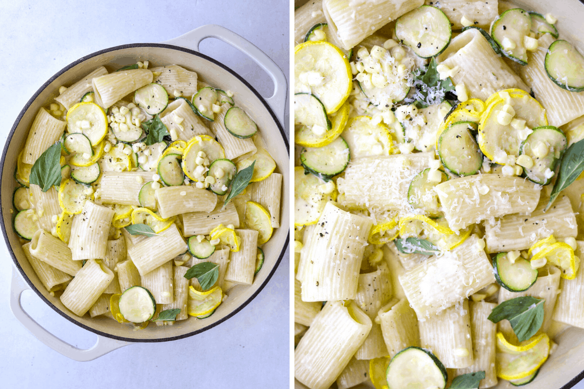 rigatoni with fresh corn, basil, cream and parmesan cheese in a large pot.