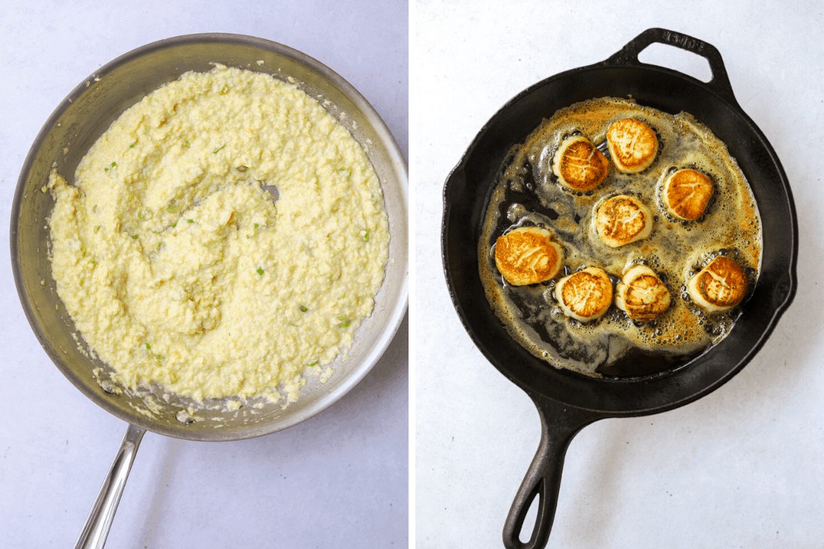 left: a saute pan with creamy corn porridge right: a cast iron pan with scallops cooking in butter