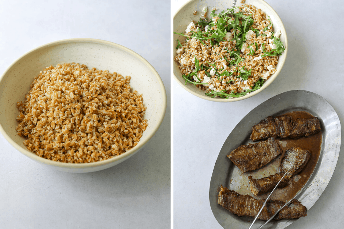 left: a bowl of farro right: a bowl of farro salad and a tray of grilled steak