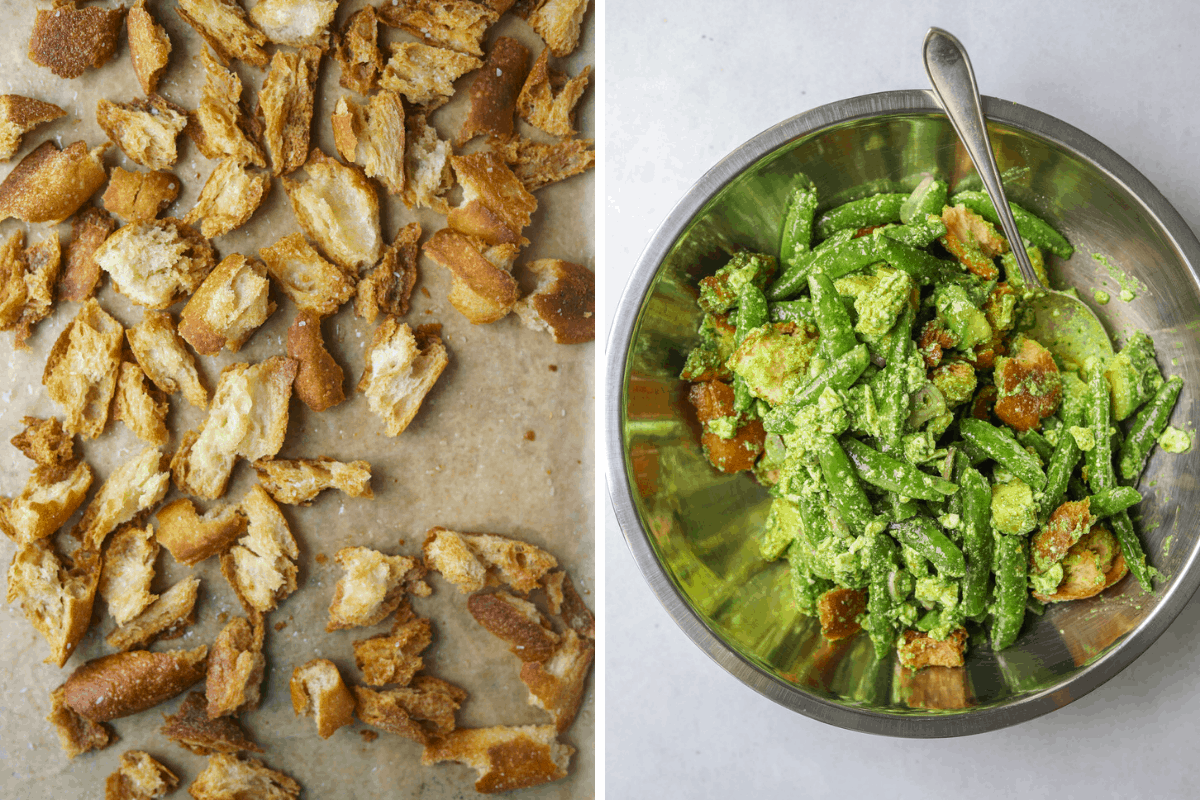 left: croutons on a parchment lined baking tray. right: panzanella salad in a stainless steel mixing bowl with a spoon.