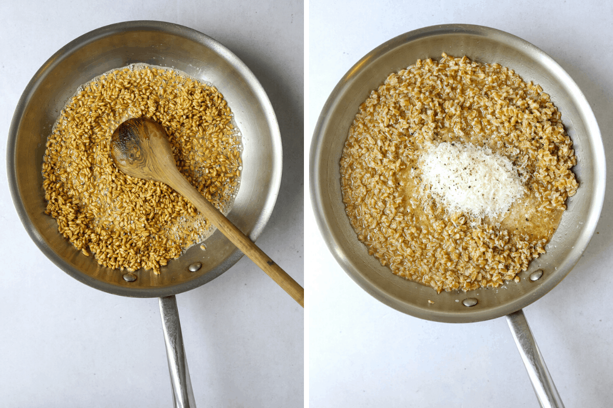 left: farro cooking in a saute pan. right: farro cooking with parmesan cheese and chicken stock