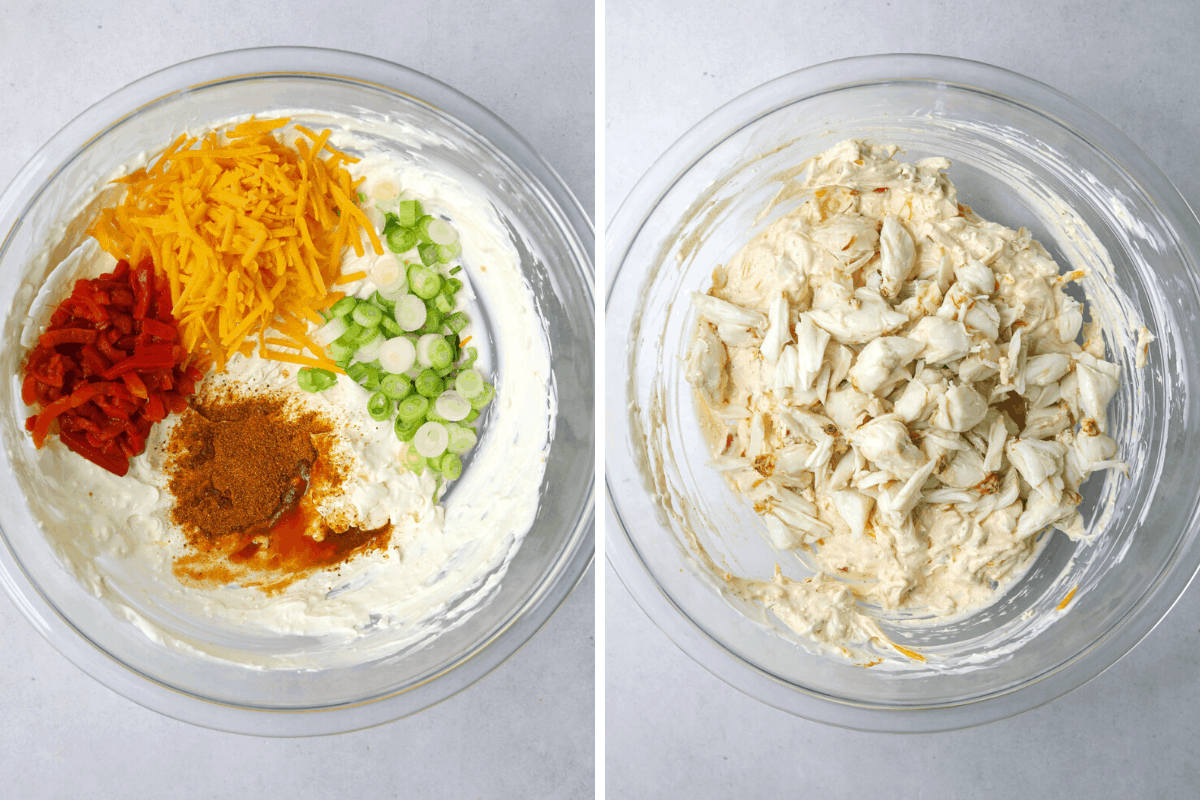 left: a mixing bowl with cream cheese, and spices. right: a bowl with crab dip mix
