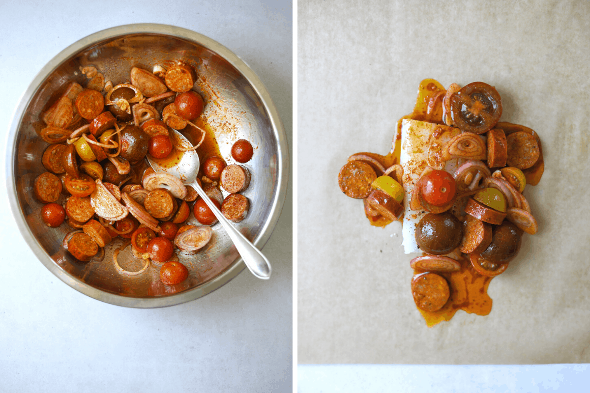 left: a bowl with cherry tomatoes, chorizo, shallot and olive oil. right: a piece of raw fish with chorizo-tomato sauce on top