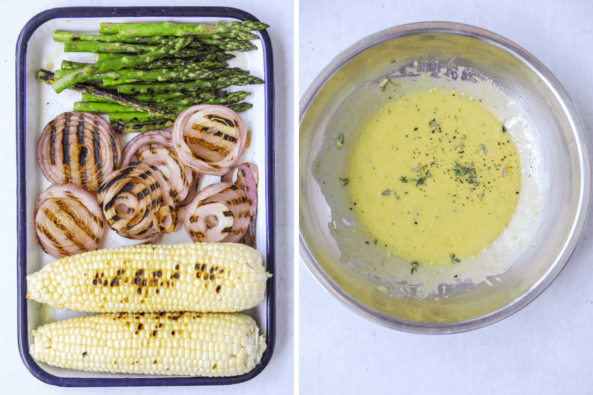 left: a blue and white rectangular tray with grilled corn, grilled red onion and grilled asparagus right: a silver mixing bowl with vinaigrette