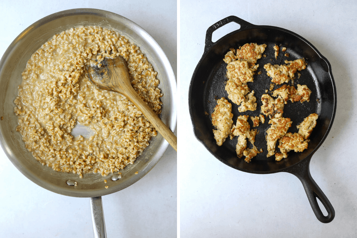 left a saute pan with farro porridge. right: a cast iron pan with chicken sausage