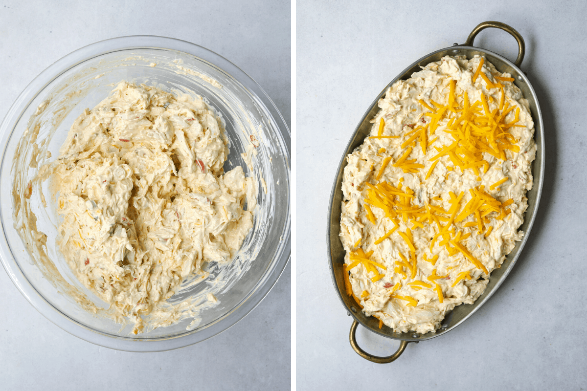 left: crab dip in a mixing bowl. right: crab dip in a baking dish topped with cheddar cheese