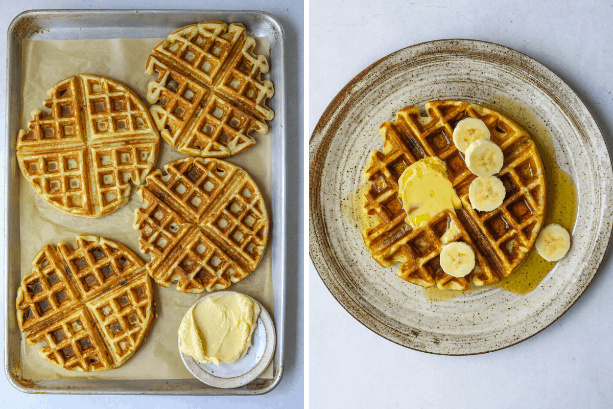 left: a baking tray with four waffles. right: a plate with a waffle topped with sliced bananas and maple syrup