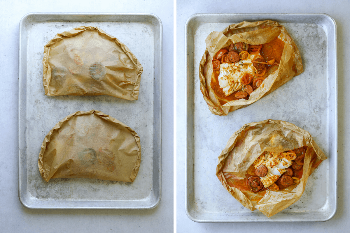 left a baking tray with two parcels of parchment wrapped fish. right a baking tray with parchment wrapped fish cut into and open