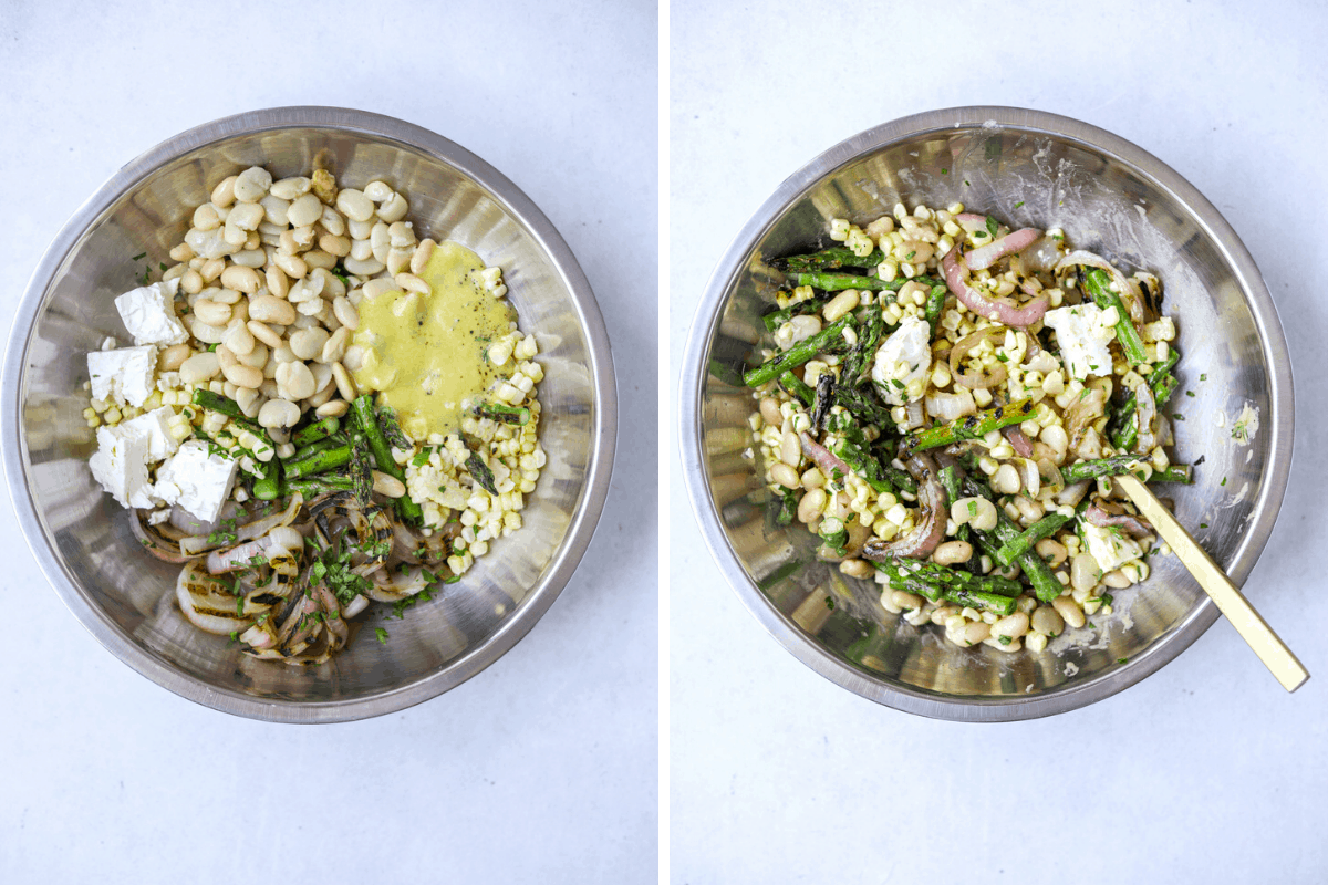 left: a silver mixing bowl with salad ingredients right: a silver mixing bowl with grilled vegetable salad mixed together with a gold spoon on the side