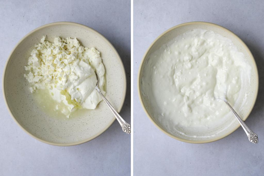 two bowls of garlic, feta yogurt dip with silver spoons
