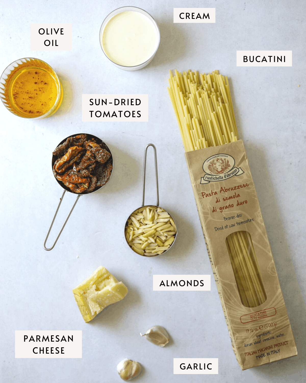 recipe ingredients individually portioned; bucatini pasta, sun-dried tomatoes, olive oil, parmesan cheese, cream and garlic