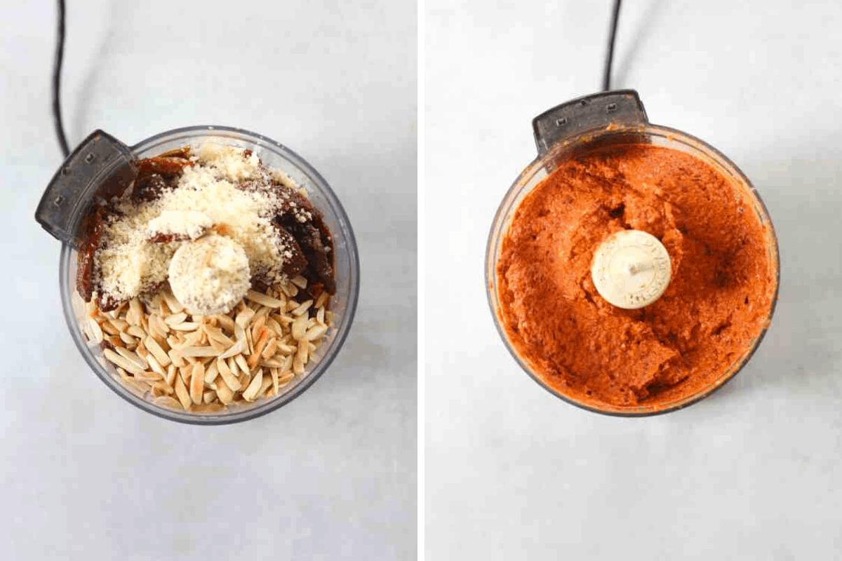 left: a food processor filled with toasted almonds, parmesan cheese and sun-dried tomatoes right: a food processor filled with red tomato pesto