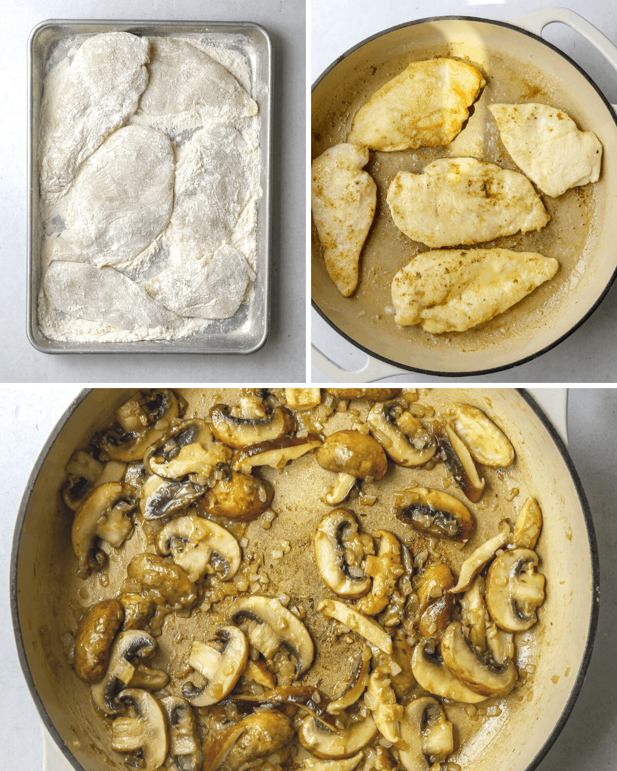 three step by step photos if recipe steps: breading chicken, cooking chicken and sautéing mushrooms