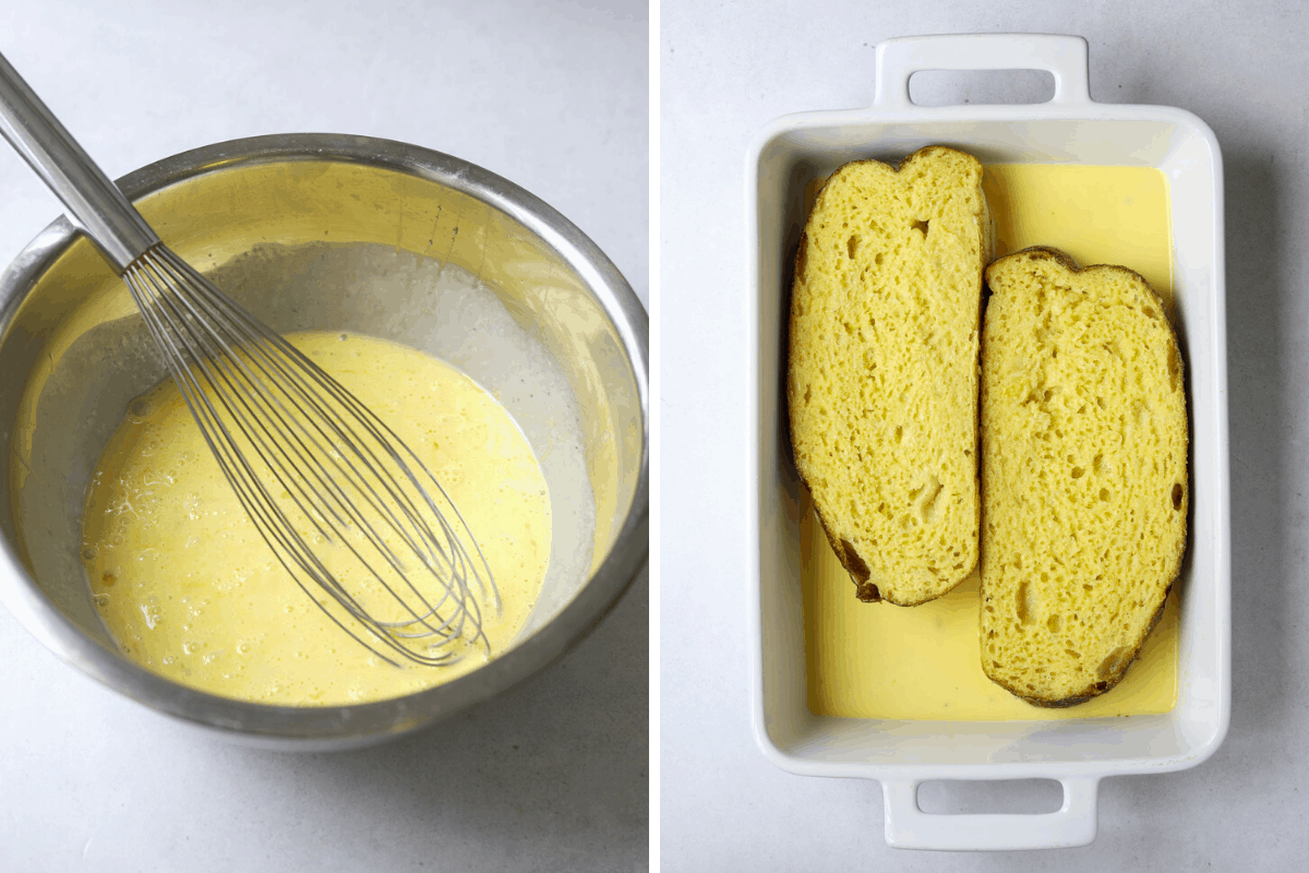 left: a bowl of egg and cream batter. right: two slices of bread in egg batter
