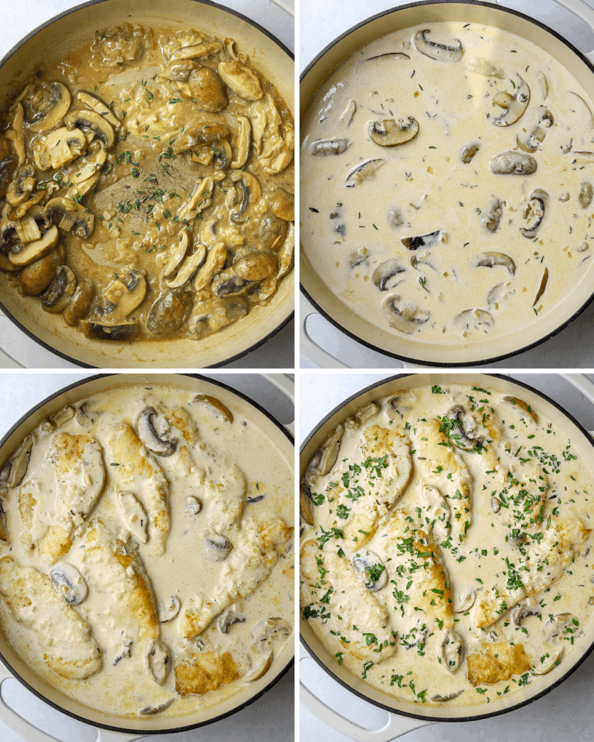 four images of step by step images of creamy mushroom ingredients