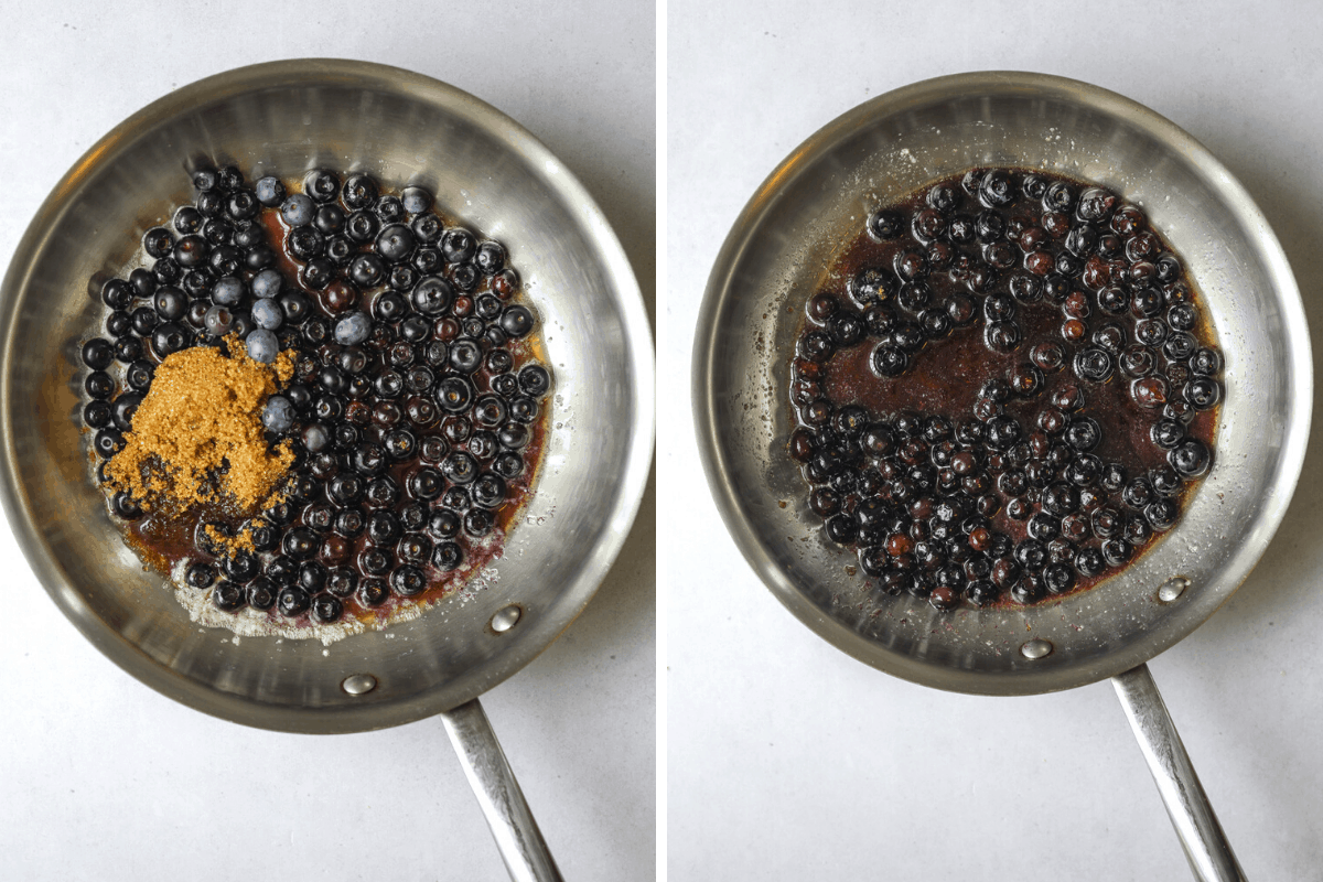 two pans with blueberry brown sugar sauce