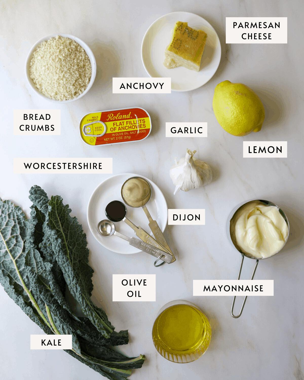 recipe ingredients: kale, dijon mustard, lemon, mayo, anchovy, garlic