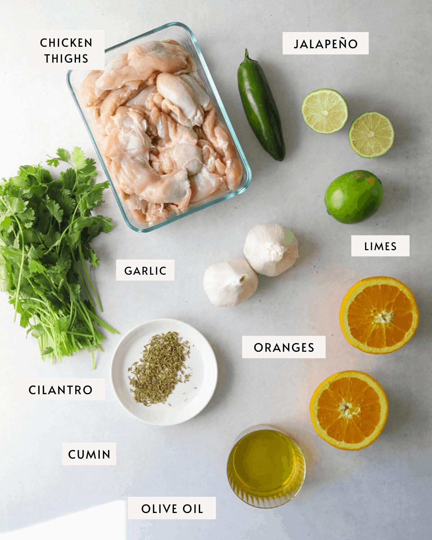 recipe ingredients: chicken thighs, orange, cilantro, lime, jalapeño