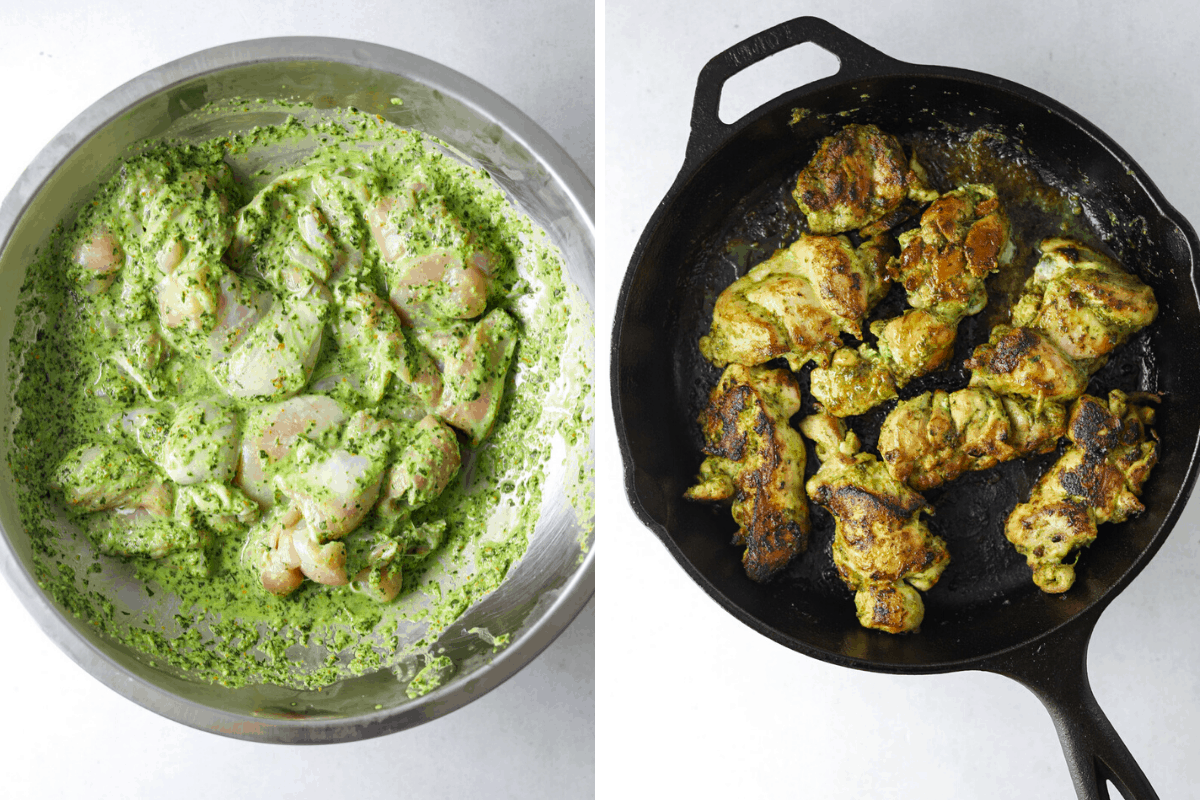 a bowl of marinated chicken and a cast iron pan with grilled chicken